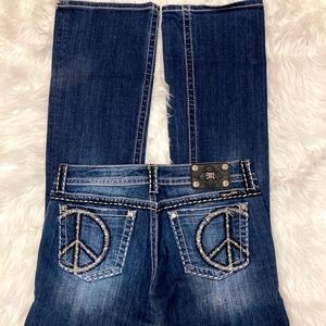 Miss Me Peace Sign Bootcut Jeans